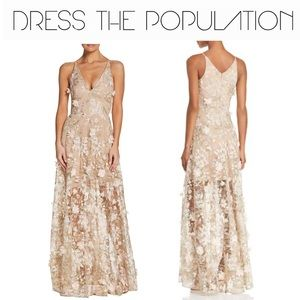 Dress The Population Sidney 3D Lace Gown in Pink